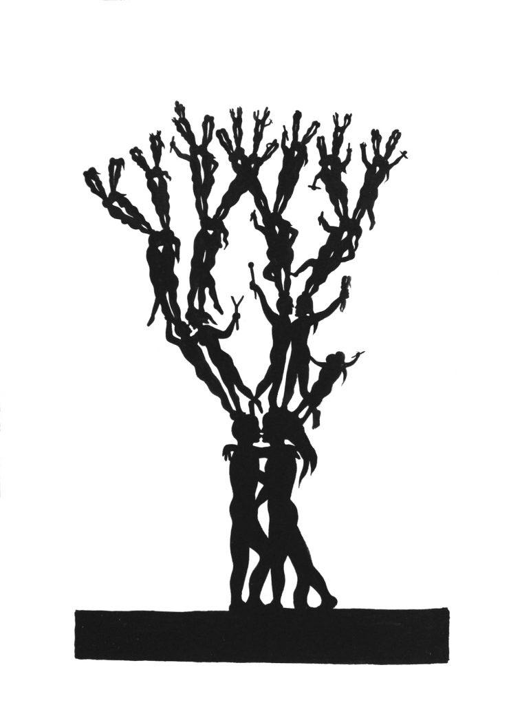 SAM3 - Arbol de besos - ink&acryics on paper - 40x30cm - unique - Pretty Portal