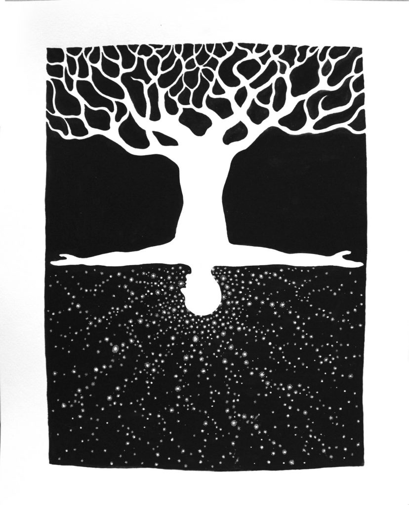 SAM3 - Raices estelares - ink&acryics on paper - 45x37cm - unique - Pretty Portal