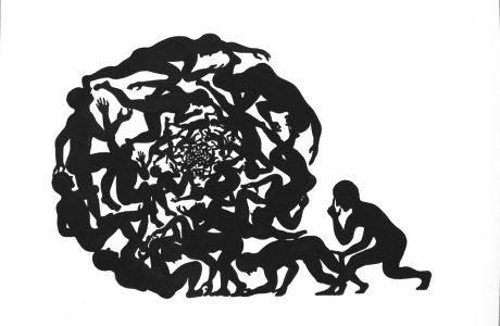 SAM3 - Spiral society - ink&acryics on paper - 40x30cm - unique - Pretty Portal