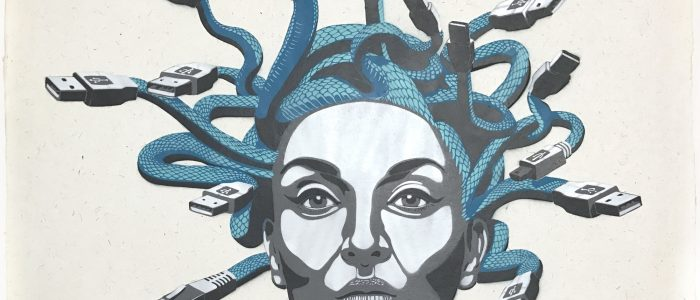 DECYCLE - MEDUSA (serpent), Stencil/ Spraypaint on handmoulded paper, 56 x 76 cm - Pretty Portal