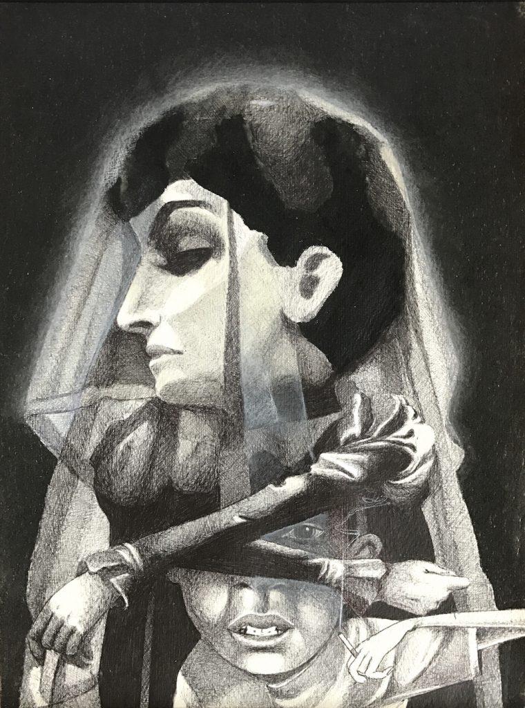 "Claudio Ethos ""Impetus"" Kopie 04, Siebdruck auf Somerset Velvet, 56 × 31 cm - Pretty Portal"