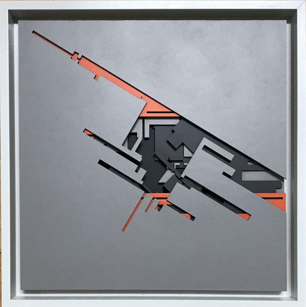 "Marc C Woehr ""N 48.77602 E 9.17314"" 30x30x3 cm - relief-grau - Pretty Portal"
