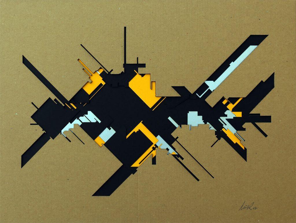 "Marc C Woehr ""N 53.554549 E 9.967871"" Papercut Unikat - Pretty Portal"